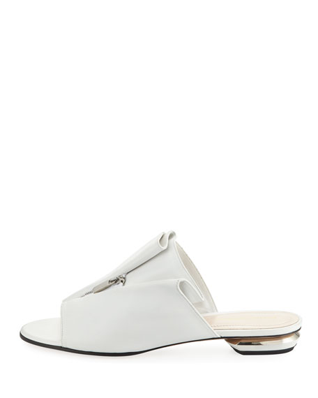 Kristen Zip-Trim Leather Mule Slide Sandal - Silvertone Hardware