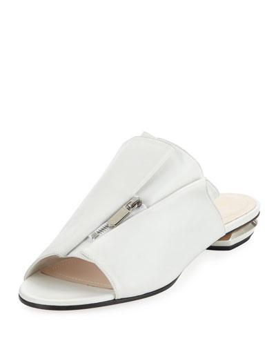 Kristen Zip-Trim Leather Mule Slide Sandal - Silvertone Hardware