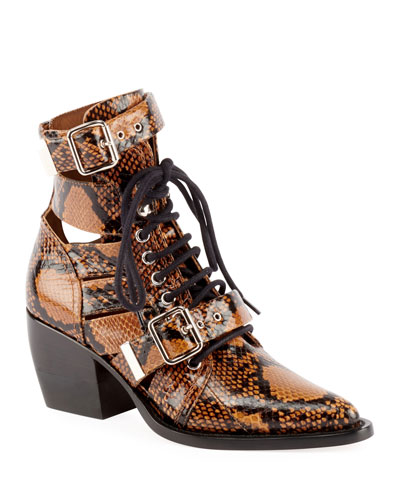 Python-Embossed Leather Combat Boot
