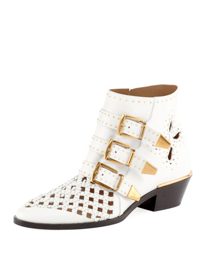 Woven Leather Buckle Bootie