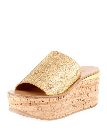 Metallic Leather Wedge Slide Sandal
