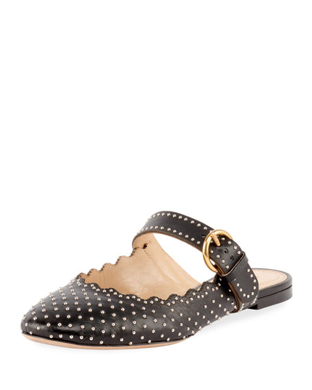 Lauren Studded Scalloped Leather Slippers, Black/Gray