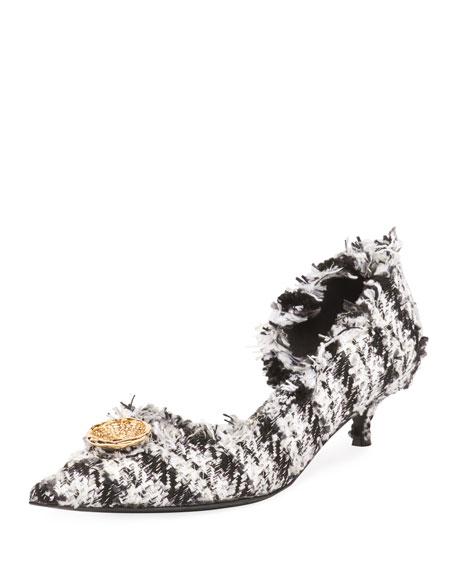 Tweed Pointy Toe Half D'Orsay Pump, White/ Black