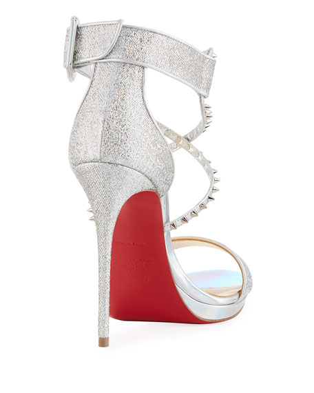 b23bc1b77aec Christian Louboutin Choca Lux 120mm Metallic Fabric Red Sole Sandal