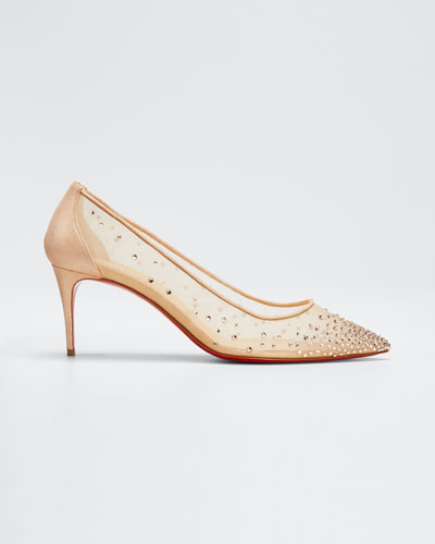 Follies 70mm Crystal Mesh Red Sole Pump Quick Look. Christian Louboutin