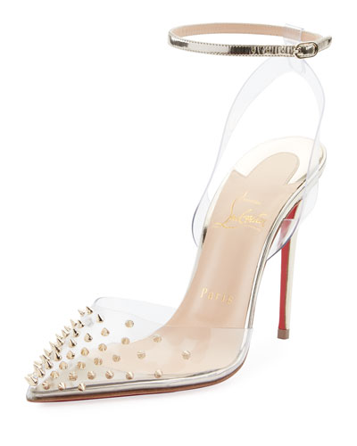 Spikoo Spiked Ankle-Wrap Red Sole Pump