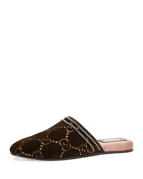 Gg Crystal-Embellished Velvet Slipper Shoes, Brown