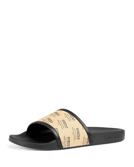 Gucci Women'S Pursuit Invite Stamp Pool Slide Sandals In Multicoloured
