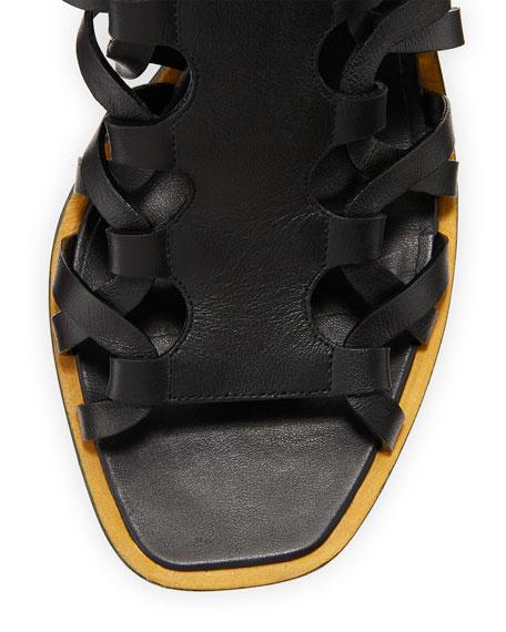 Pont Leather Leg-Wrap Sandal