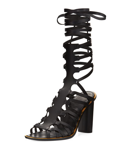 Pont Leather Leg-Wrap Sandal