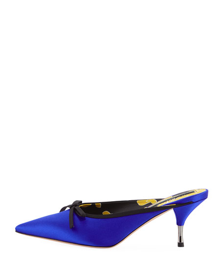Satin Slide Mule with Bow, Blue
