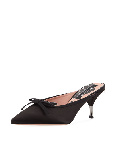 Satin Slide Mule with Bow, Black