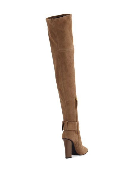 Stretch-Suede Buckle Over-the-Knee Boot