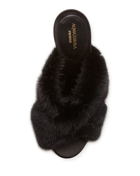Purr Mink-Fur 105mm Mule Sandal