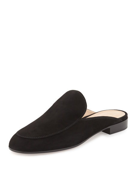 Notched Flat Suede Mule Slide