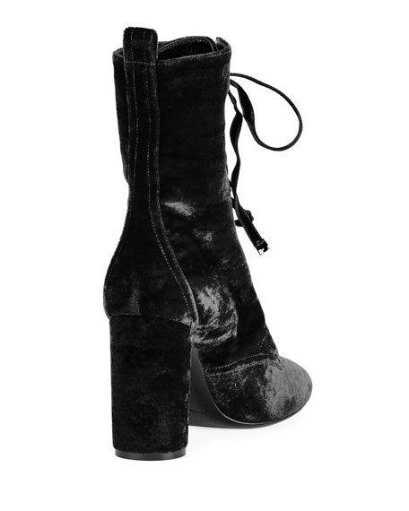 LouLou Velvet Lace-Up Boot
