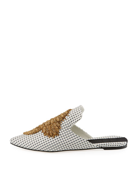 Checkered Sea Horse-Embroidered Mule