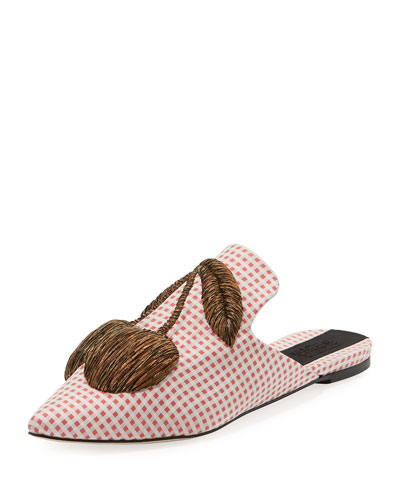 Checkered Cherry-Embroidered Mule