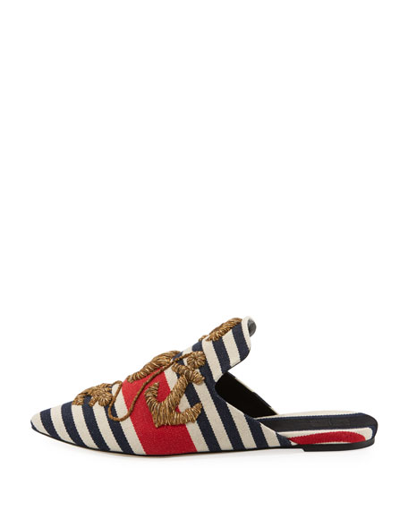 Striped Anchor-Embroidered Mule