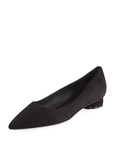 Suede Pointed Skimmer Flat