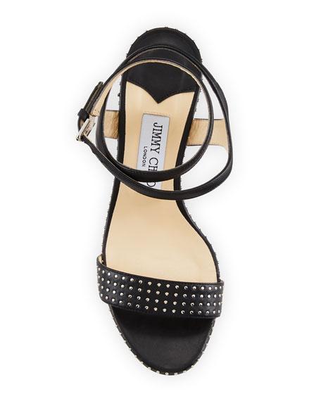 Marine Studded Leather Block-Heel Ankle-Strap Sandal