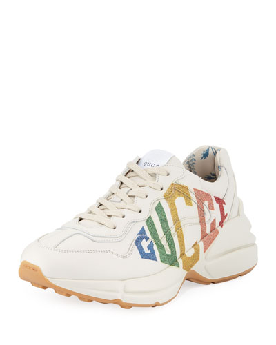 Rainbow-Logo Leather Sneakers