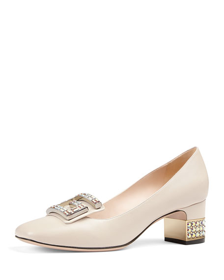 Embellished-Heel Leather Pumps - Ivorybone Size 9 in White