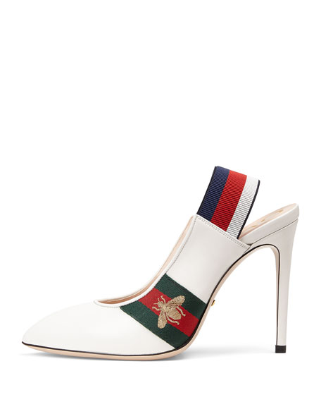 Sylvie Grosgrain-Trimmed Leather Slingback Pumps, White Leather