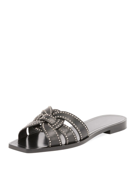 Nu Pieds 05 Sandals In Black Studded Leather