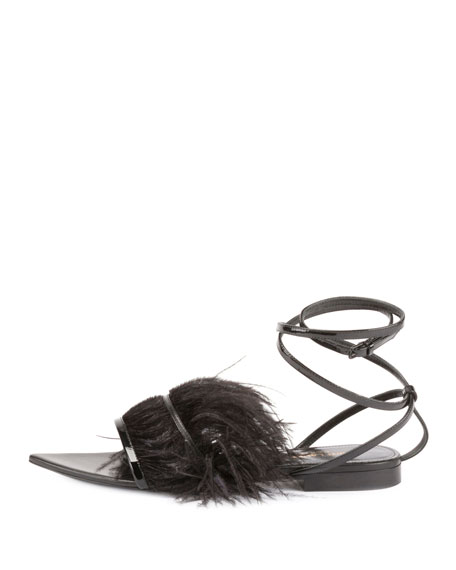 Feather-Embellished Ankle-Wrap Sandal