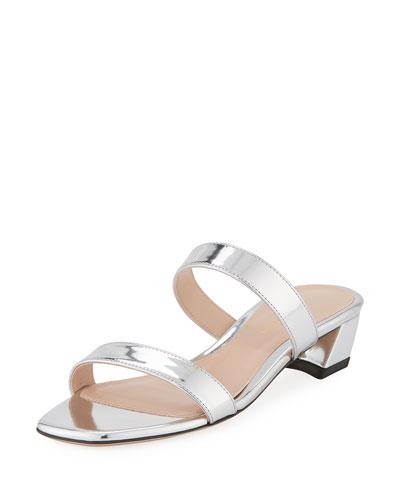 Ava Low-Heel Metallic Leather Slide Sandal