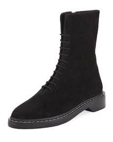 THE ROW Fara Lace-Up Suede Combat Boot