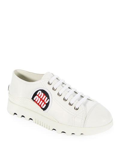 Platform Leather Logo-Patch Sneaker