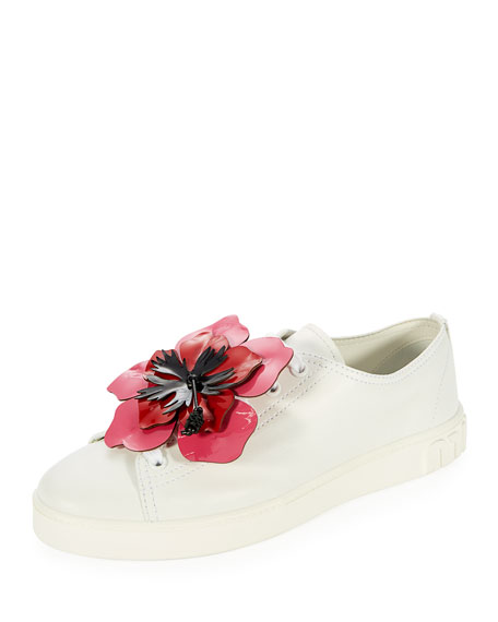 FLOWER-EMBELLISHED LEATHER LOW-TOP SNEAKERS