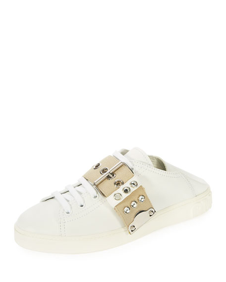 Leather Stud-Buckle Sneaker