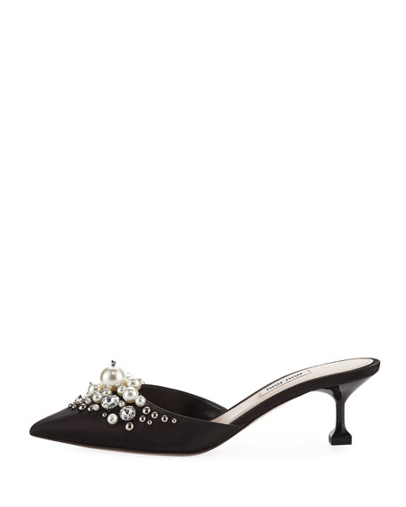 Pearly Beaded Satin Mule Pump