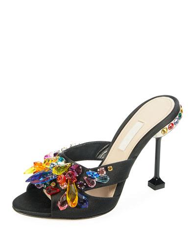Jeweled Satin Slide Sandal