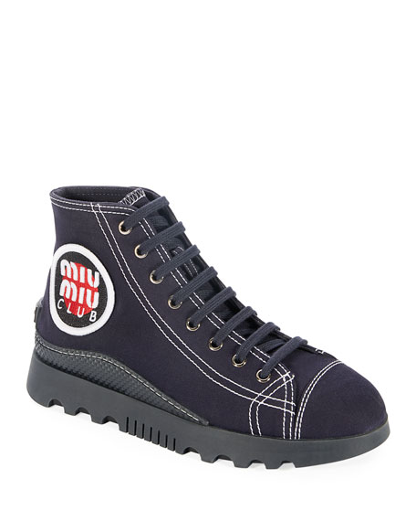 Logo-Appliquéd Canvas High-Top Sneakers, Navy