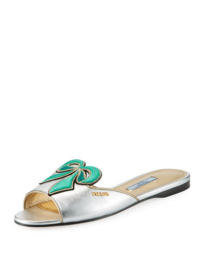 Metallic Bow Slide Sandal