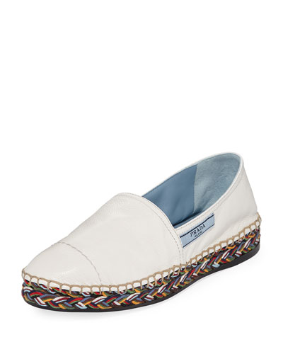 Leather Flat Slip-On Espadrille