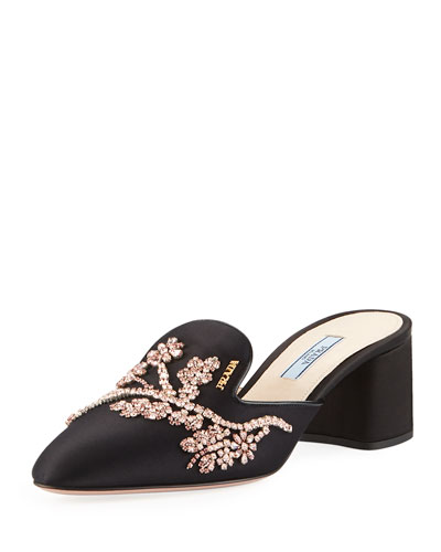 Jewel-Embroidered Satin Mule