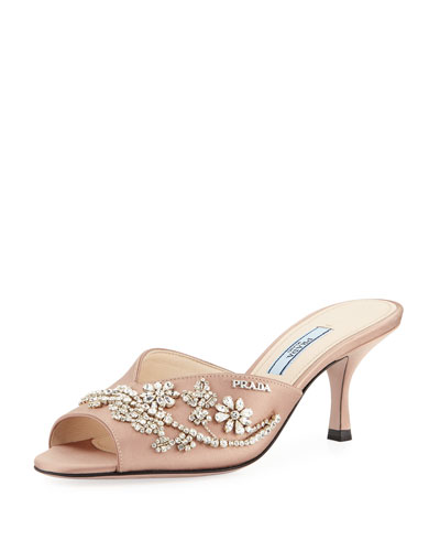 Jewel-Embroidered Satin Sandal