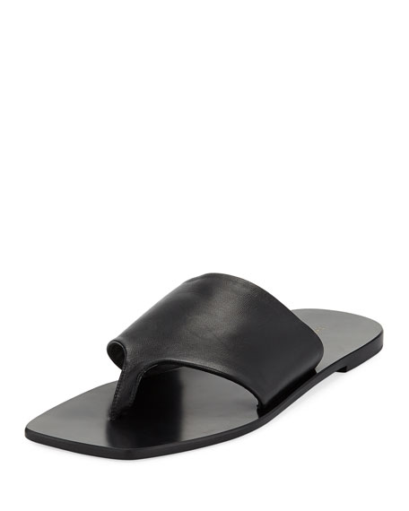 Flat Napa Leather Thong Sandal in Black