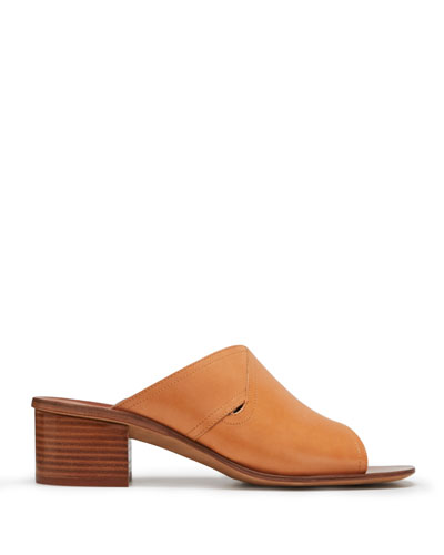 Hazel Leather Block-Heel Slide Sandals