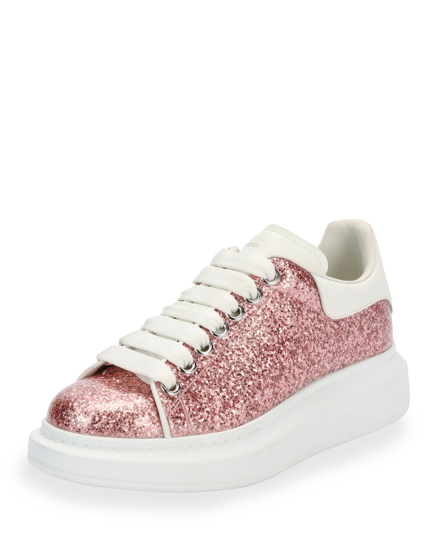 Alexander McQueen Glitter Lace-Up Platform Sneaker