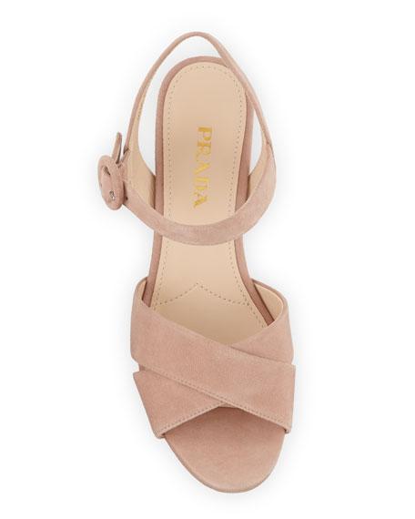 Suede Crisscross Ankle-Wrap 65mm Sandals