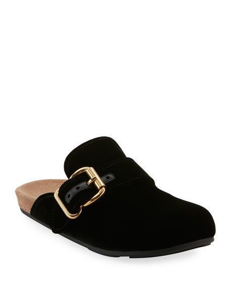 Velvet Clog Mule Flat in Black