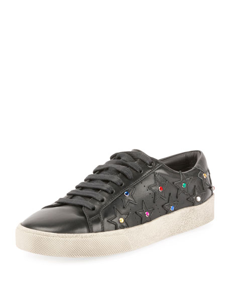Court Classic Crystal-Studded Sneakers, Black