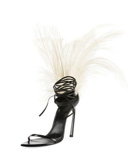 Talitha Feather-Embellished Ankle-Wrap Sandal