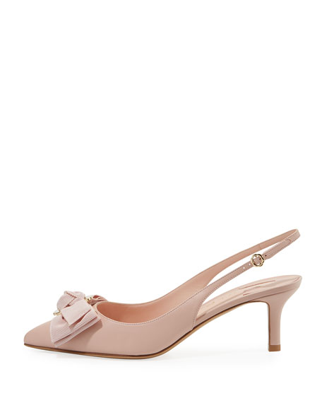 Leather Slingback Pump with Bow
